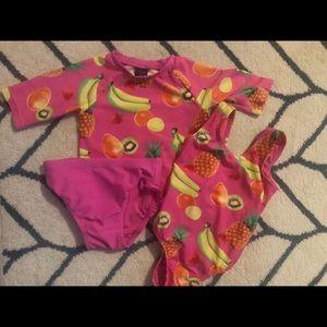 Baby Gap 3T pink fruity swim set